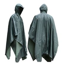 JTENG Waterproof Ripstop Hooded US PVC Camouflage Rain Poncho - Large- Green