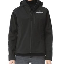 ORORO Women's Slim Fit Heated Jacket with Battery Pack and Detachable Hood (XL)